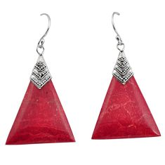 8.38cts natural red sponge coral 925 sterling silver dangle earrings c8484
