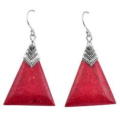 7.16cts natural red sponge coral 925 sterling silver dangle earrings c8485