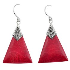 925 sterling silver 6.52cts natural red sponge coral dangle earrings c8486