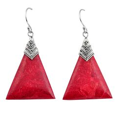 7.80cts natural red sponge coral 925 sterling silver dangle earrings c8487