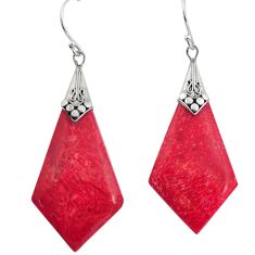 9.45cts natural red sponge coral 925 sterling silver dangle earrings c8492