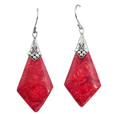 8.76cts natural red sponge coral 925 sterling silver dangle earrings c8493