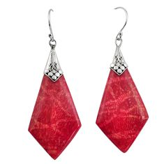 925 sterling silver 10.09cts natural red sponge coral dangle earrings c8494