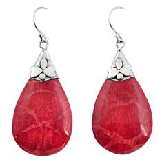 11.69cts natural red sponge coral 925 sterling silver dangle earrings c8495