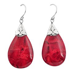 12.35cts natural red sponge coral 925 sterling silver dangle earrings c8496