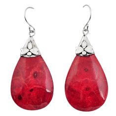 925 sterling silver 13.60cts natural red sponge coral dangle earrings c8497
