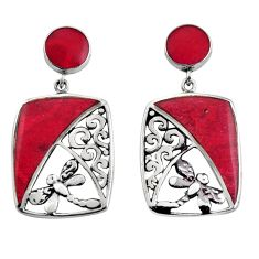 925 sterling silver 7.89cts natural red sponge coral dangle earrings c8500