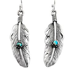 0.36cts green arizona mohave turquoise 925 silver feather earrings c8587