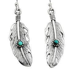0.36cts green arizona mohave turquoise 925 silver feather earrings c8588