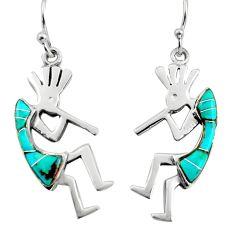 3.26gms green arizona mohave turquoise enamel 925 sterling silver earrings c8593