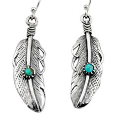 925 silver 0.38cts green arizona mohave turquoise feather earrings c8594