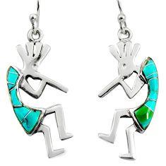 3.26gms green arizona mohave turquoise enamel 925 sterling silver earrings c8596