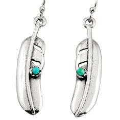 925 silver 0.35cts green arizona mohave turquoise feather earrings c8598
