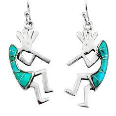 3.26gms green arizona mohave turquoise enamel 925 sterling silver earrings c8599