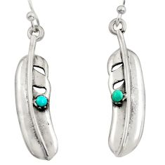 0.24cts green arizona mohave turquoise 925 silver feather earrings c8643