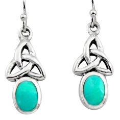 4.26gms green arizona mohave turquoise enamel 925 sterling silver earrings c8647