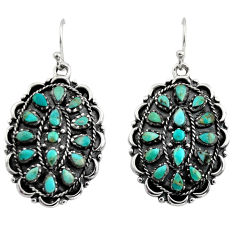 6.75cts green arizona mohave turquoise 925 sterling silver earrings c8652