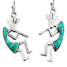 3.62cts green arizona mohave turquoise 925 sterling silver earrings c8801