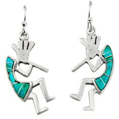 3.64cts green arizona mohave turquoise 925 sterling silver earrings c8802