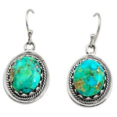 7.59cts green arizona mohave turquoise 925 sterling silver earrings c8803