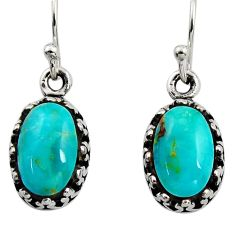 5.54cts green arizona mohave turquoise 925 sterling silver earrings c8805
