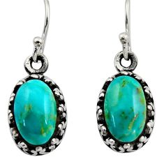 5.55cts green arizona mohave turquoise 925 sterling silver earrings c8806