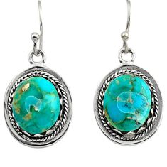 7.53cts green arizona mohave turquoise 925 sterling silver earrings c8809