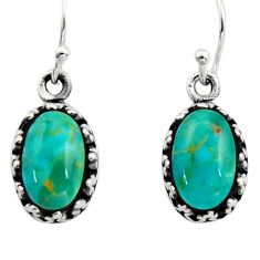 4.84cts green arizona mohave turquoise 925 sterling silver earrings c8810