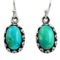 4.88cts green arizona mohave turquoise 925 sterling silver earrings c8814