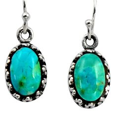 4.84cts green arizona mohave turquoise 925 sterling silver earrings c8817
