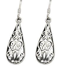 3.69gms filigree bali style 925 plain silver dangle earrings c8841