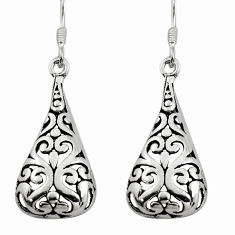 925 plain silver 4.26gms filigree bali style dangle earrings c8843