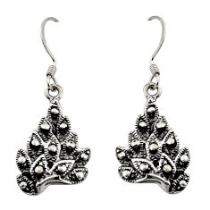 5.03gms indonesian bali style solid 925 sterling silver dangle earrings c8846