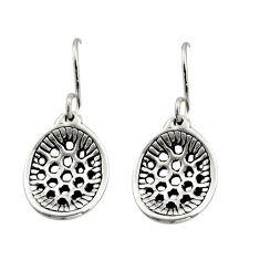 1.69gms indonesian bali style solid 925 plain silver dangle earrings c8851
