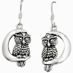 925 sterling silver 6.26gms moon and owl charm earrings c8854