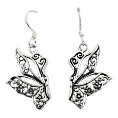 4.02gms filigree bali style 925 sterling silver butterfly earrings c8856