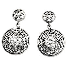 6.48gms indonesian bali style solid 925 sterling silver dangle earrings c8857