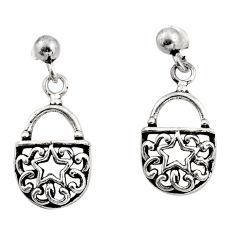 4.03gms filigree bali style 925 silver dangle lock charm earrings c8858