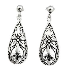 4.89gms filigree bali style 925 sterling silver flower earrings c8859