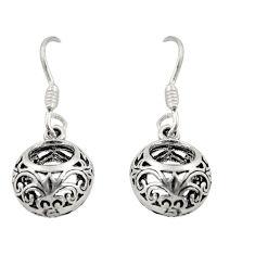 3.26gms filigree bali style 925 sterling silver dangle earrings c8861