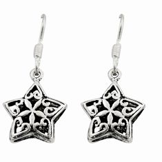 3.87gms filigree bali style 925 silver dangle star charm earrings c8862