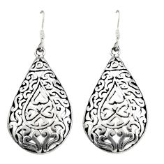 7.26gms filigree bali style 925 sterling silver dangle earrings c8865