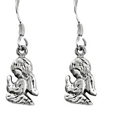 3.02gms indonesian bali style solid 925 silver dangle angel charm earrings c8866