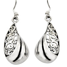 3.48gms filigree bali style 925 plain silver dangle earrings c8867