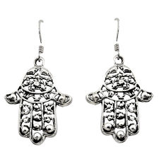 5.89gms indonesian bali style solid 925 silver hand of god hamsa earrings c8868