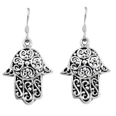 6.67gms filigree bali style 925 silver hand of god hamsa earrings c8870