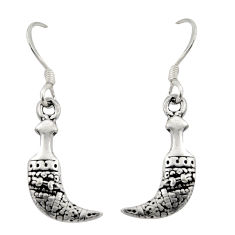 2.89gms indonesian bali style solid 925 plain silver dangle earrings c8873