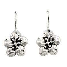 2.48gms indonesian bali style solid 925 sterling silver flower earrings c8877