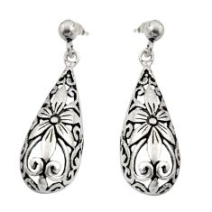 925 sterling silver 5.26gms filigree bali style flower earrings c8879