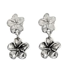 3.84gms indonesian bali style solid 925 sterling silver flower earrings c8880